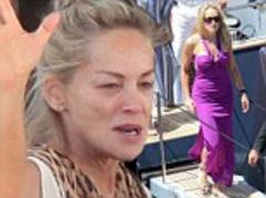 Sharon Stone roars into action once more as she heads out for another glamorous Cannes appearance in purple gown