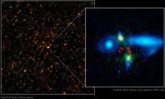 monstrous galaxy crash discovered in the early universe